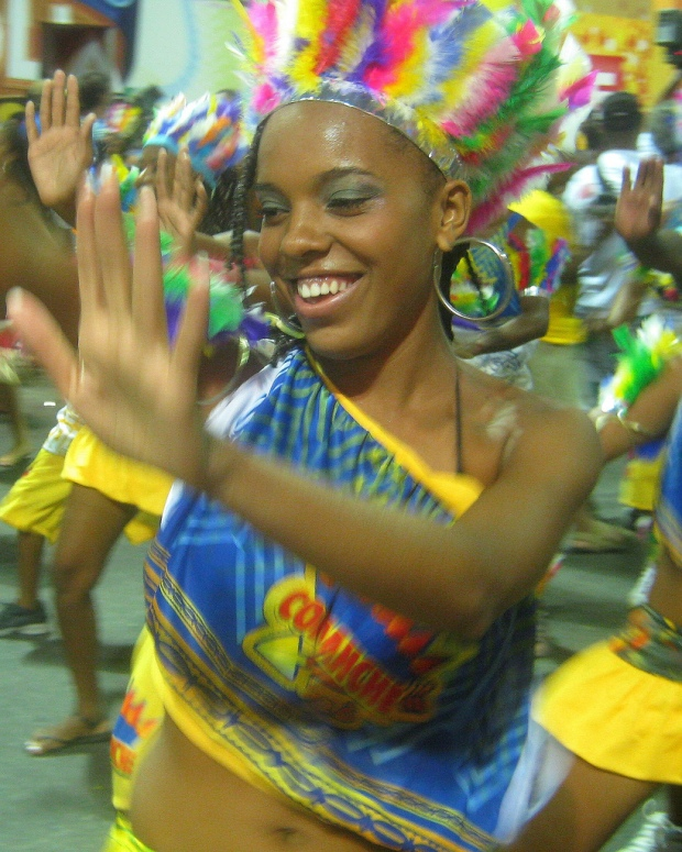Brazilian girl dancing in Salvador's Carnival