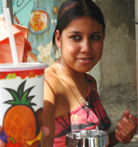 A street juicer in Guadalajara Mexico